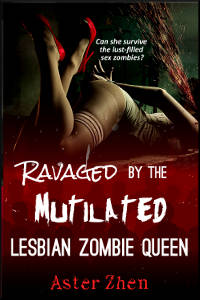 Ravaged by the Mutilated Lesbian Zombie Queen: lower torso of woman in vintage stockings and red high heels, hands bound behind back, blood gushing, red crowd of anonymous people